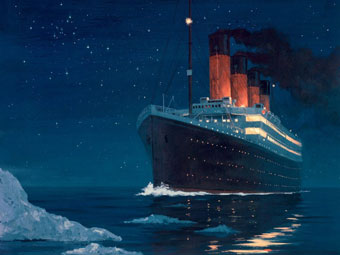 The Titanic sails toward fatal iceberg