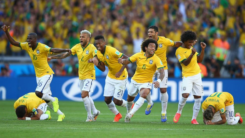 The moment Brazil win the penalty shoot-out against Chile.