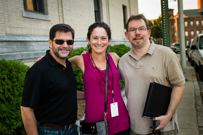 A Happy Team - Merrimack Valley Magazine's owner, editor & publisher, Glenn Prezzano, writer for the Scott Grimes story, Beth Daigle, and creative director Stephen Pennimpede
