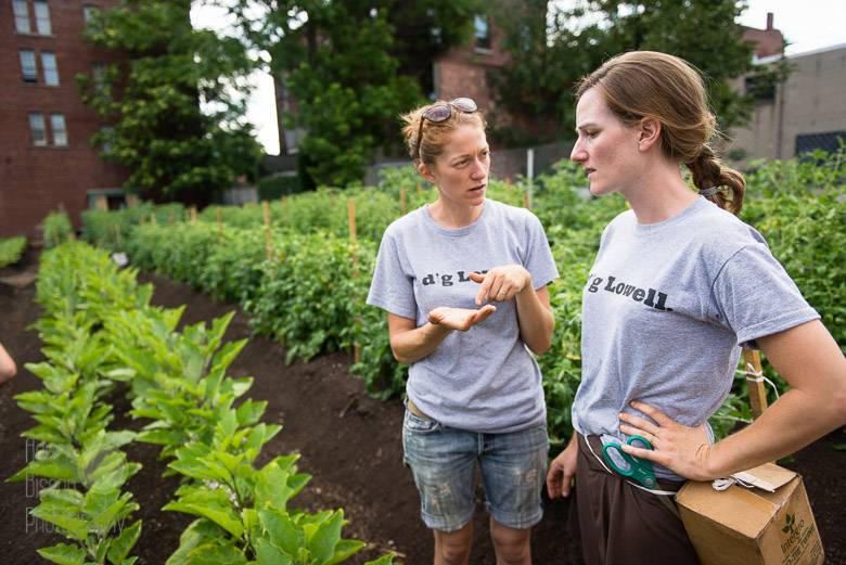 Lydia and Francey, of Mill City Grows, discuss their city community garden in Lowell