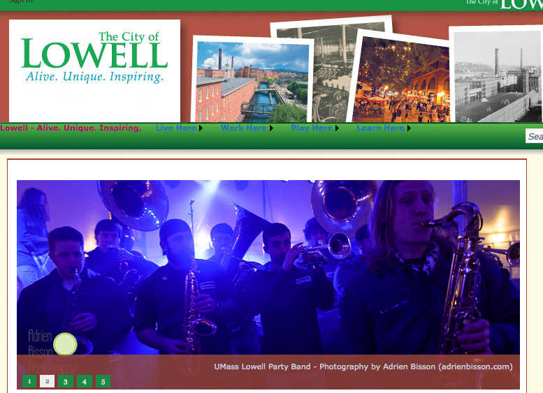 Very happy to be asked to be the first photographer from Lowell, MA to be featured on the home page slide show of  lowell.org !