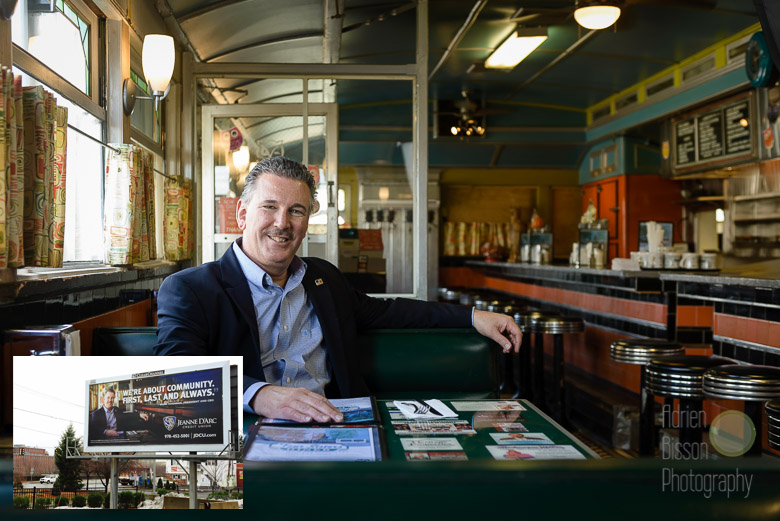 Part of my photoshoot for Jeanne D'Arc Credit Union's new ad campaign. This one of Mark S. Cochran, President & CEO at the Owl Diner, is one for the wall! (see insert - billboard seen on the VFW Highway, in Lowell)