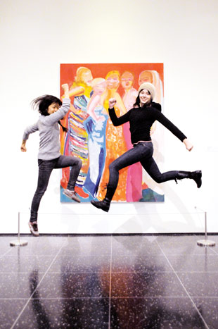 TheHappyCorp consulted with the Museum of Modern Art in December on an art jump, where guests bounced up and down in front of various works.  Photo: Amanda Burns