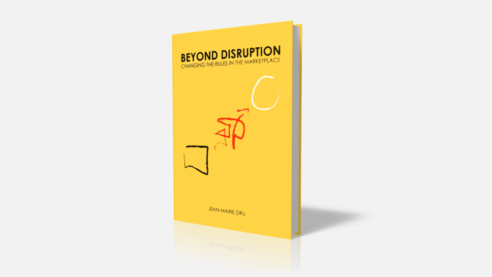 I designed the book cover, which maps the stages of disruption, Conventions, Disruption, and Vision. Published in 2002, copies are still floating around. BUY ON AMAZON