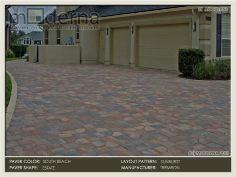 South Beach Pavers in the Estate Layout. Sandstone 4x8 Soldier Course Border.