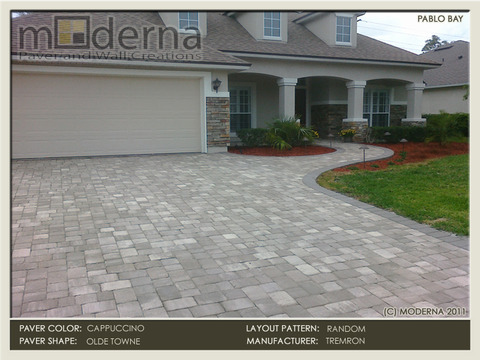 The Cappuccino brick Pavers are installed in a random pattern using 3 pieces in the field. The border is a solid 6x9 in Taupe color.