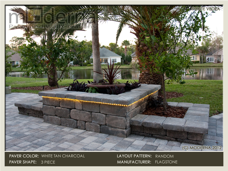 The hardscape planter boxes can also be used as a small seating wall.
