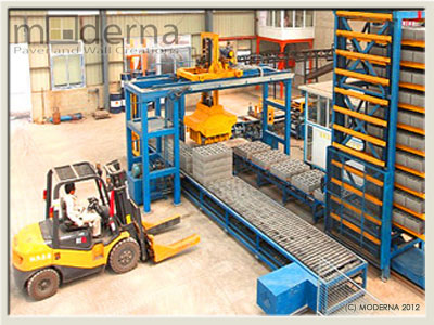 A typical block paving stone manufacturing plant.