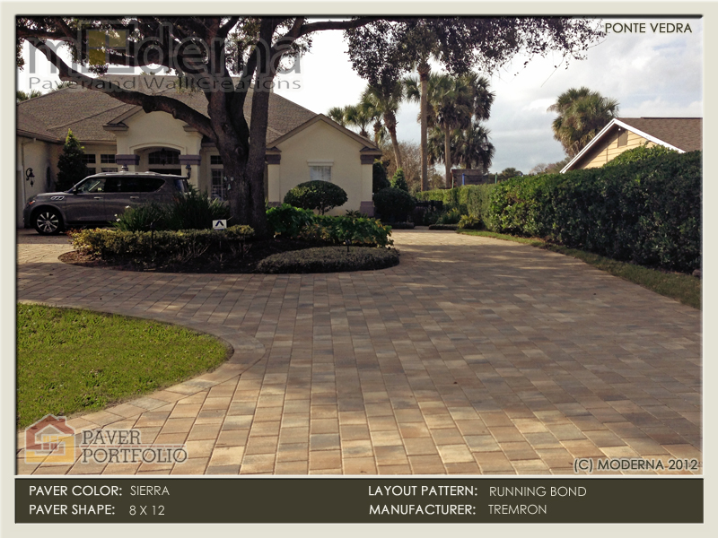 Brick Paver Driveway construction in Ponte Vedra Beach. 8x12 Plaza Pavers in Running Bond layout pattern. Sierra Color.