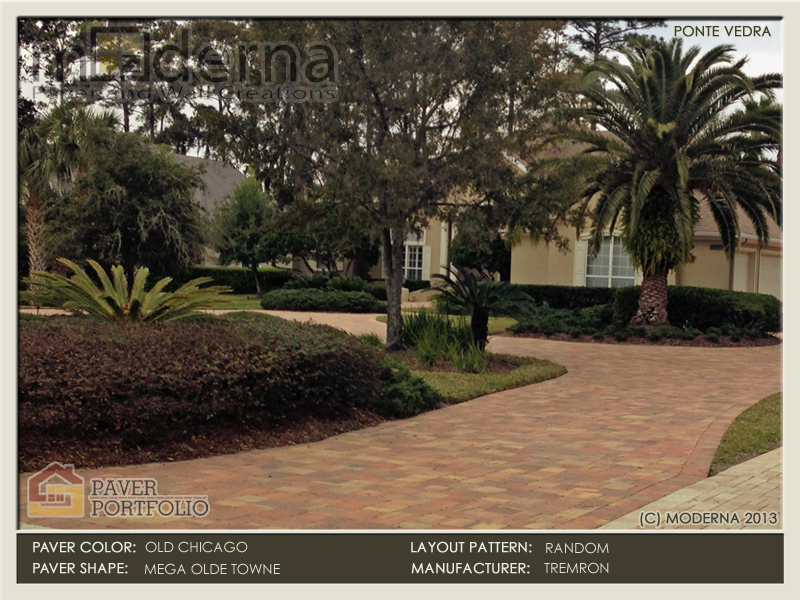 Ponte Vedra Paver Driveway in Marsh Landing. Tremron's Mega Olde Towne in a Random Pattern. Olde Chicago Color.