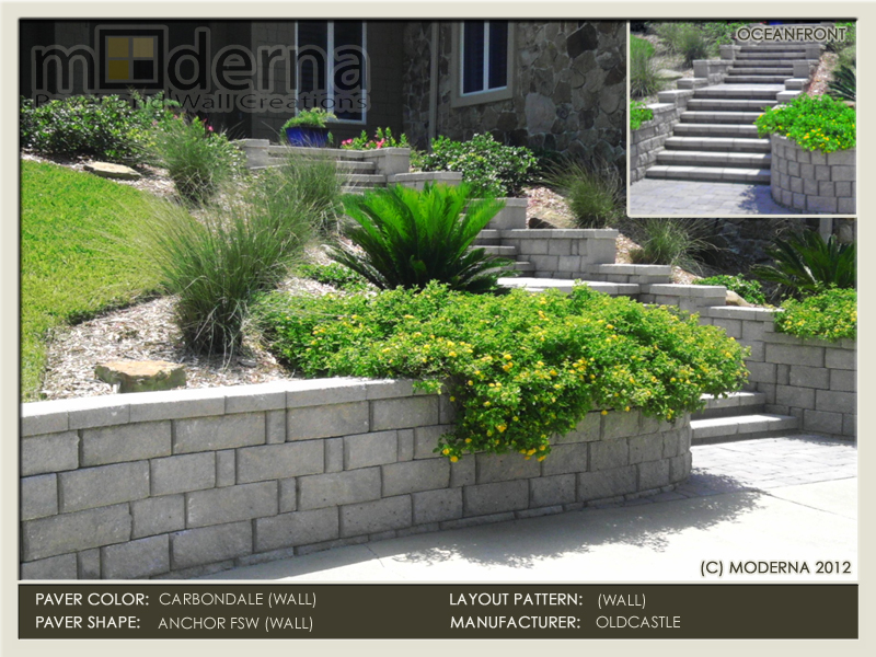 Paver Staircase and Retaining Wall along the Ponte Vedra Oceanfront. Anchor Carbondale Wall. Knights Brigde Pavers.