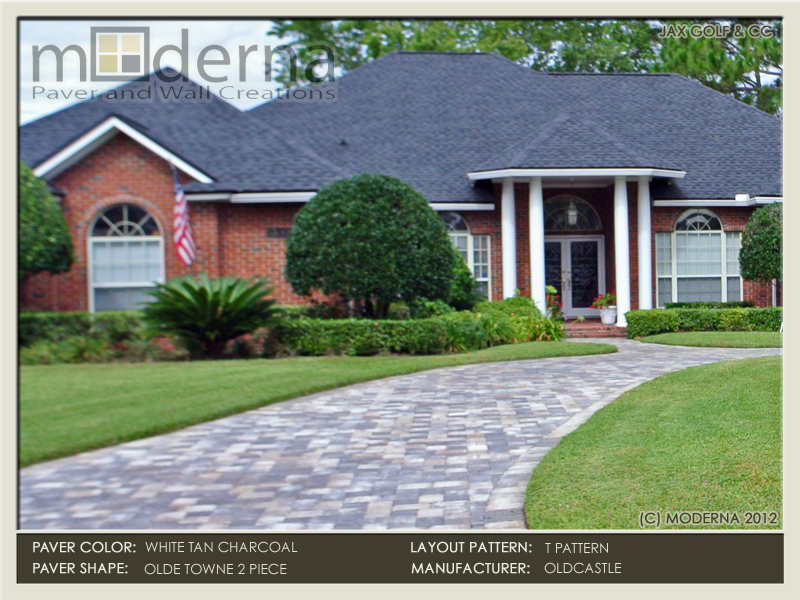 Circular brick paver driveway installation in Jacksonville FL. This driveway is 2 Piece Appian Combo pavers in the White, Tan, Charcoal blend.