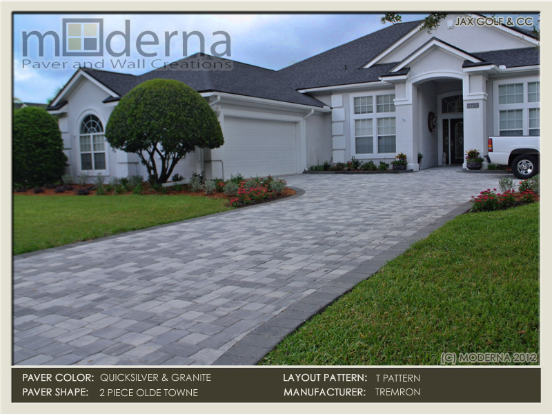 Jacksonville paver driveway renovation. These brick pavers are 2 piece Olde Towne. The color is blended with Quicksilver and a Granite color border.