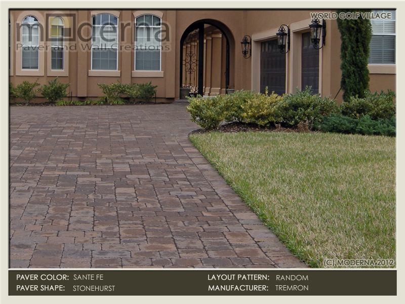 World Golf village King and the Bear paver Driveway installation. Tumbled Stonehurst paver style. Santa Fe color with blends of Tan and Charcoal.