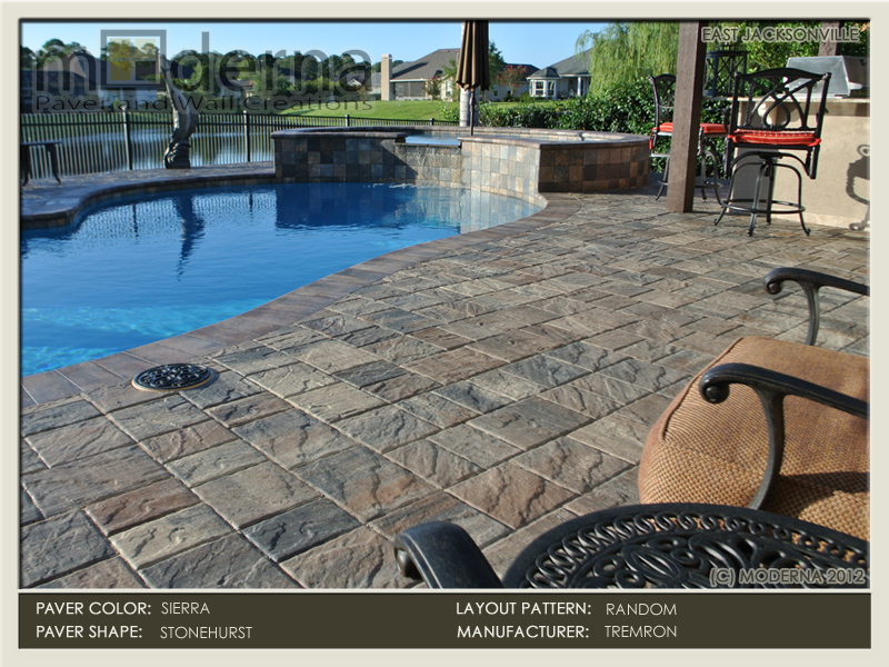 Paver pooldeck in Jacksonville FL. Stonehurst paver style in a Random layout pattern. Large style Sierra bullnose coping. Sierra color pavers.