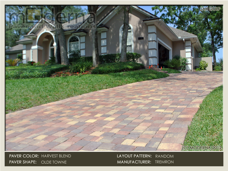 Brick Paver driveway construction in Jacksonville FL. the drive features Olde Towne pavers in a Random layout pattern. Harvest Blend color.