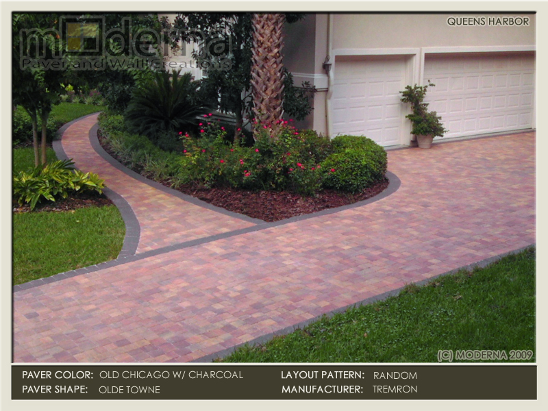 Queens Harbor paver driveway and walkway. Olde Towne pavers in a random layout pattern. Harvest Blend color with a Charcoal border.