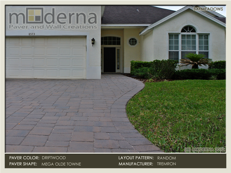 Baymeadows paver driveway installation in Jacksonville FL. Mega Olde Towne pavers in a Random layout pattern. Driftwood color.