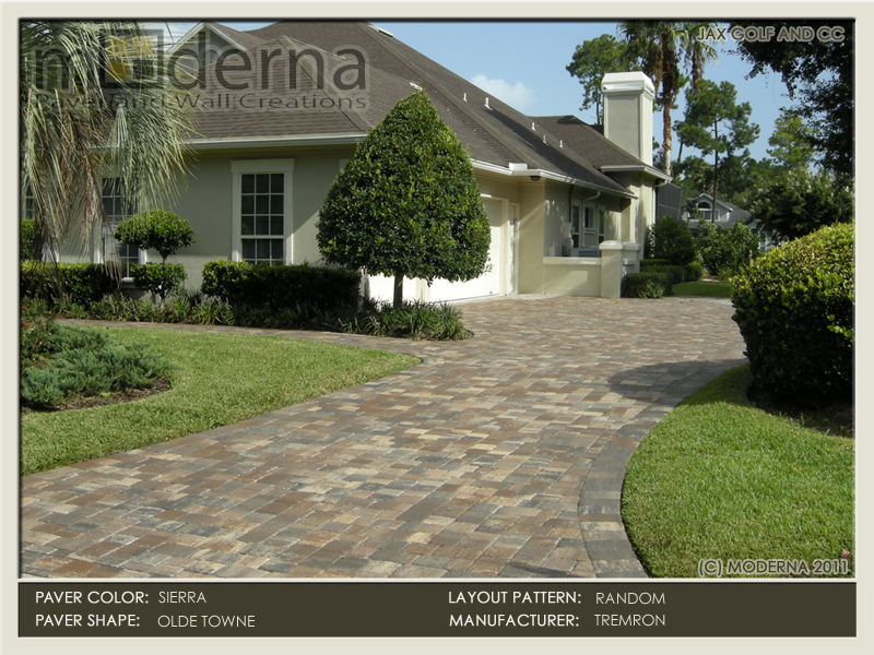 Jacksonville paver driveway installation. Pavers featured are Tremron's Olde Towne in a random layout pattern in Sierra Color. Jax Golf.