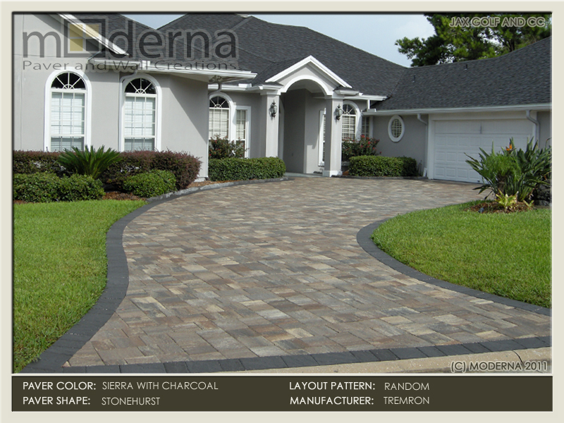 Jacksonville Paver driveway installation by Moderna. THis drive features the new textured Stonehurst paver style. Sierra pavers on the field, Charcoal border.
