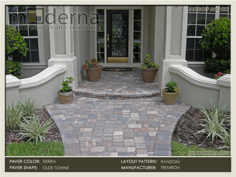 Paver walkway and Entryway in Jacksonville FL. This paver step makes a nice curve to accent the architecture of the entry.