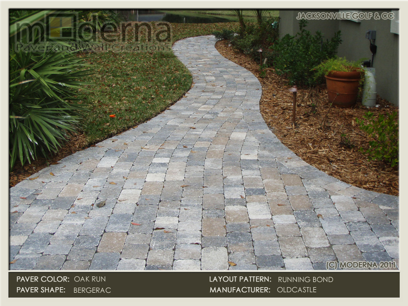 Jacksonville paver walkway construction using the Bergerac premier paver from Belgard. This paver is textured and tumbled creating an antiqued look.