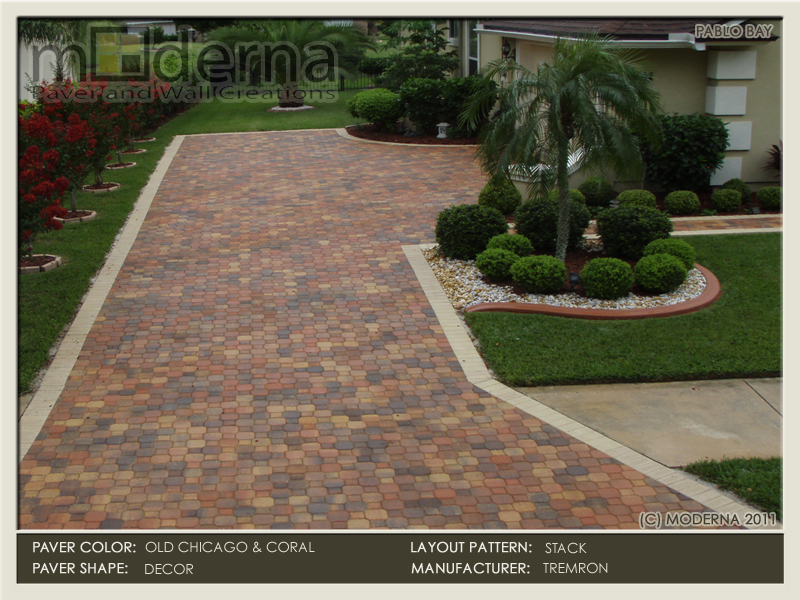 The Decor shape has been discontinued recently- A popular paver shape several years ago. This Jacksonville driveway features Olde Chicago with a Coral border.