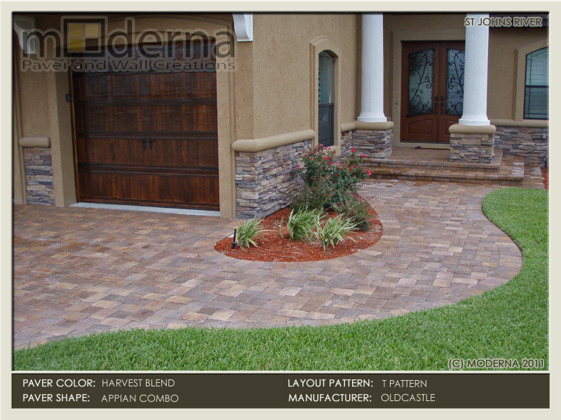 Brick paver driveway, walkway, steps & entryway. This is an Oldcastle Harvest blend 2 piece Appian combo with a 6 x 9 Border.