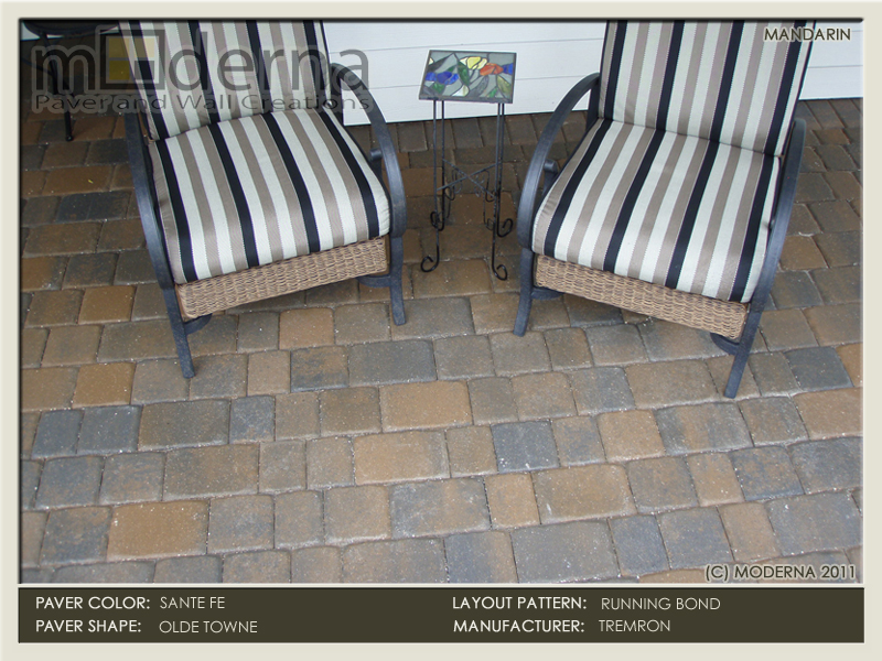 The Sante Fe color is blended with Tan and Charcoal. This patio features the Running Bond pattern in 3 piece cobble paver with a 4 x 8 border.