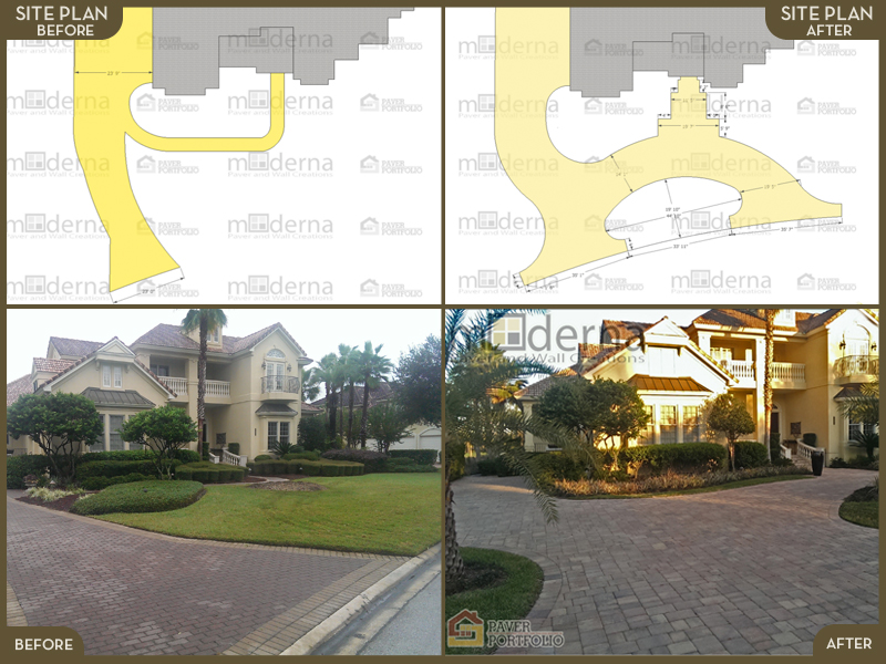 A before and after spread showing the original design and new design, the original driveway and new driveway.