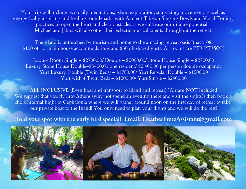 Please email HeatherPreteAssistant@gmail.com for more information!    http://heatherpretemindfulness.com/retreats