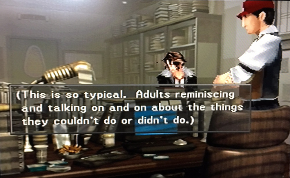 Final Fantasy VIII (1999). Inside Timber Maniacs office.