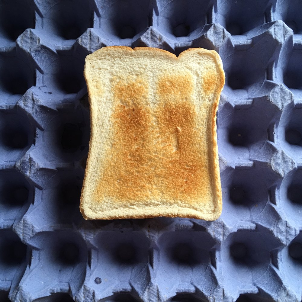 Toast on Egg[tray], I.B. Simpson, 08 March 2017