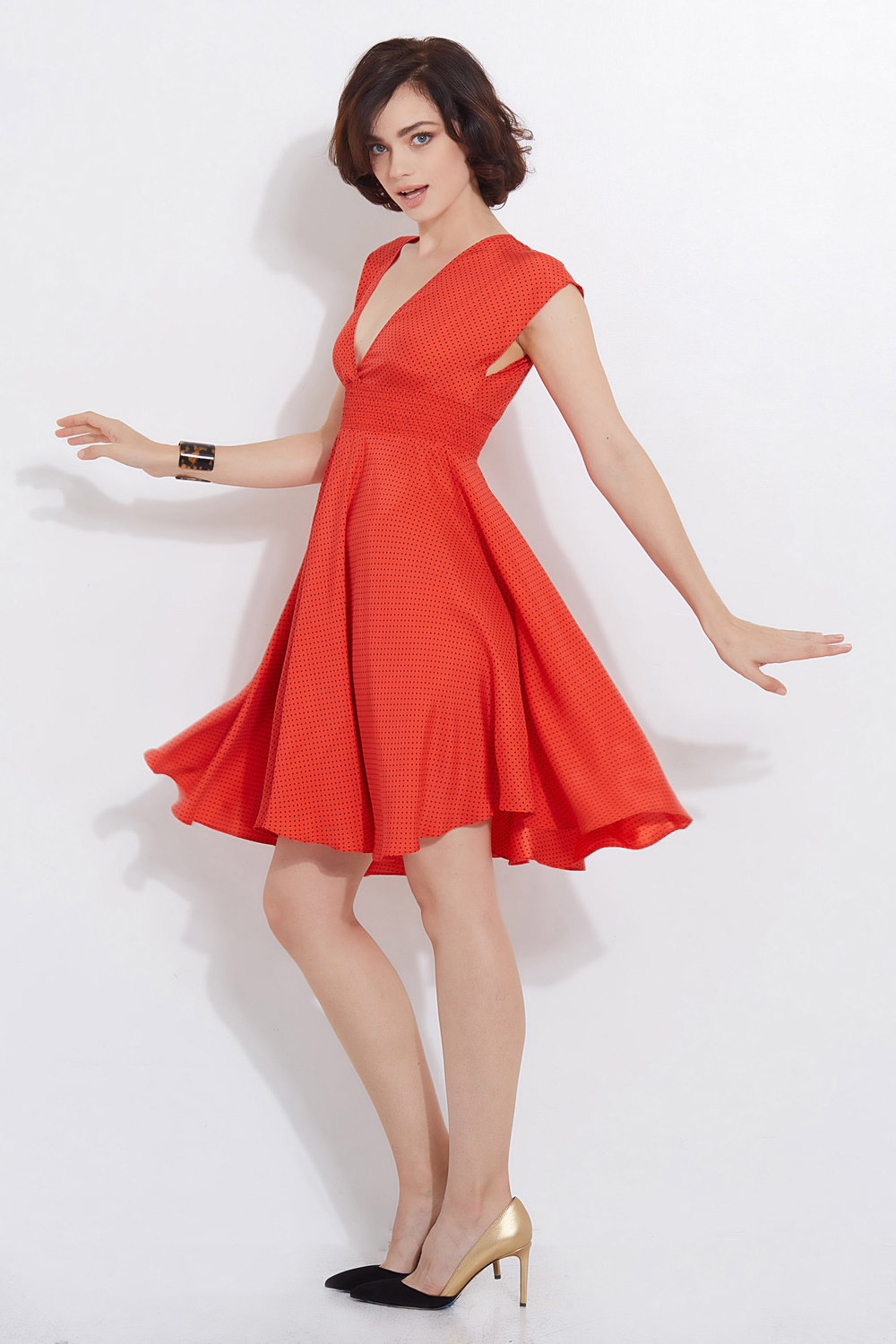 Raquelle Party Dress Red Black Dot Darling 5.jpg