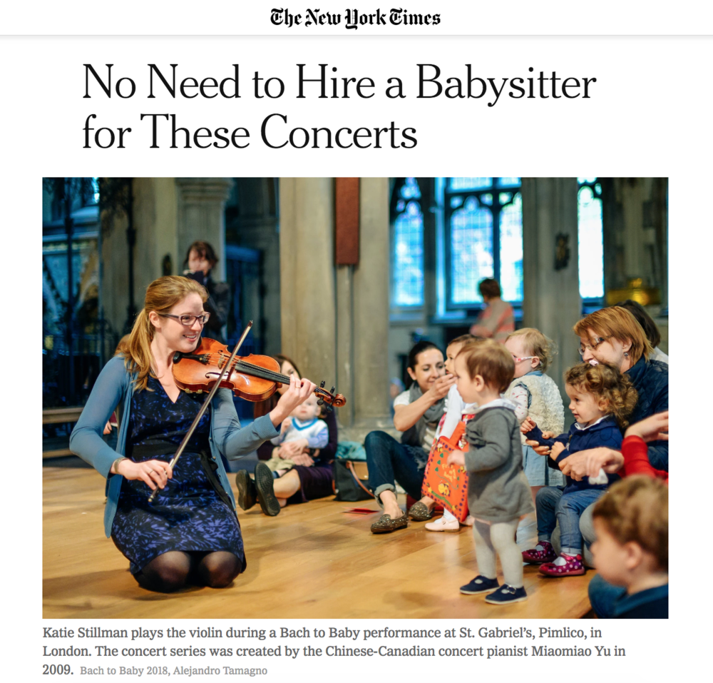 New York Times cover - Bach to Baby concerts