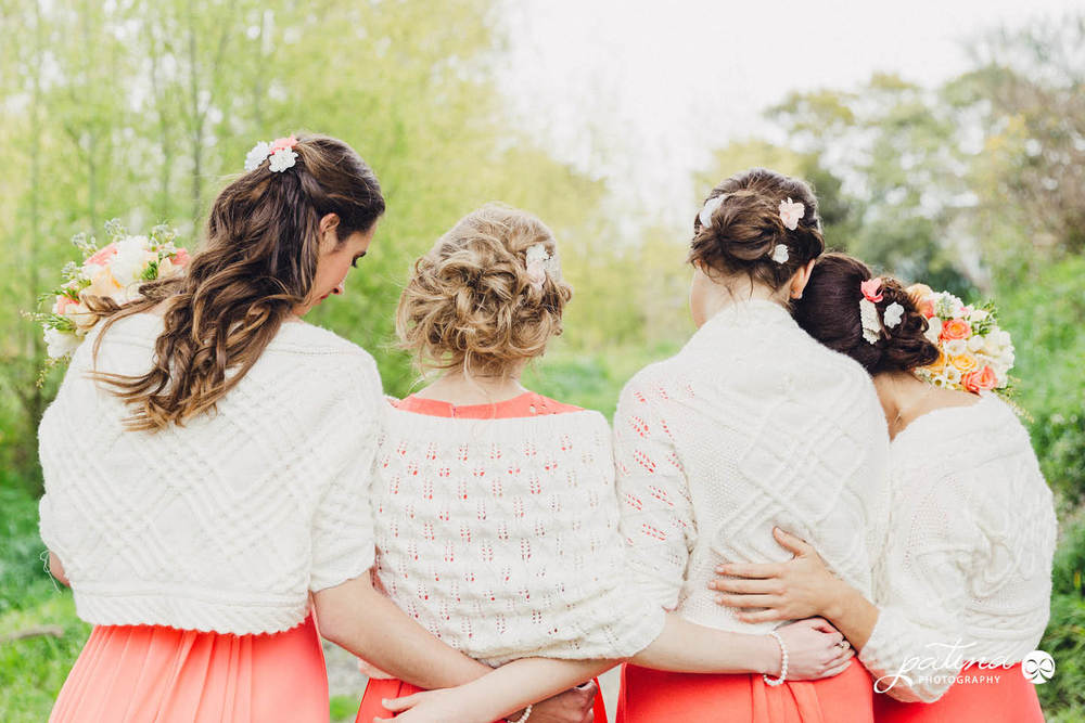 Peach and coral bridesmaid dresses