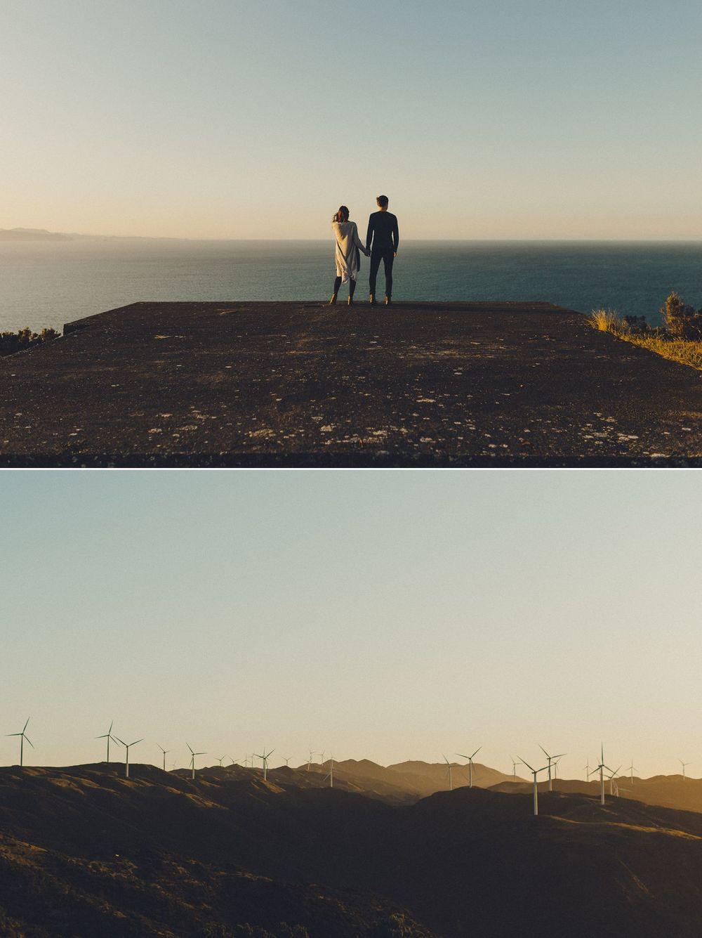 makara wind farm engagement photos at sunset