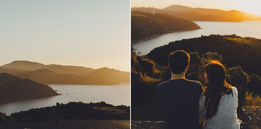 New Zealand scenery romantic engagement shoot at sunset