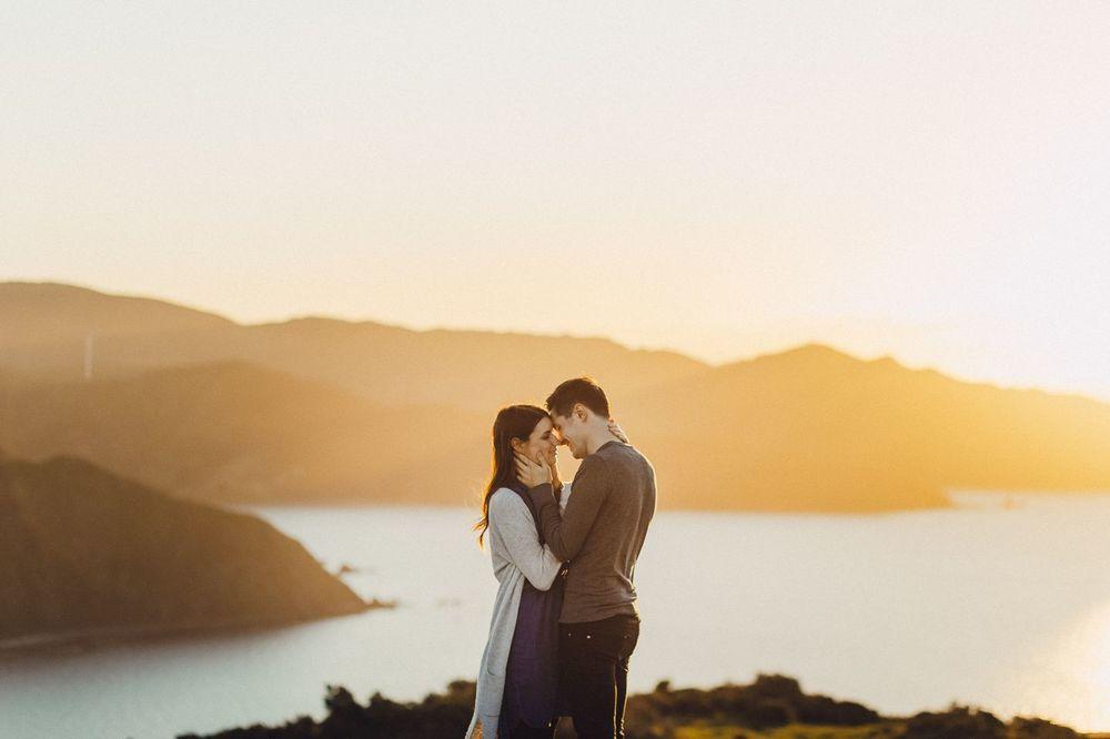 Golden hour engagement photos new zealand
