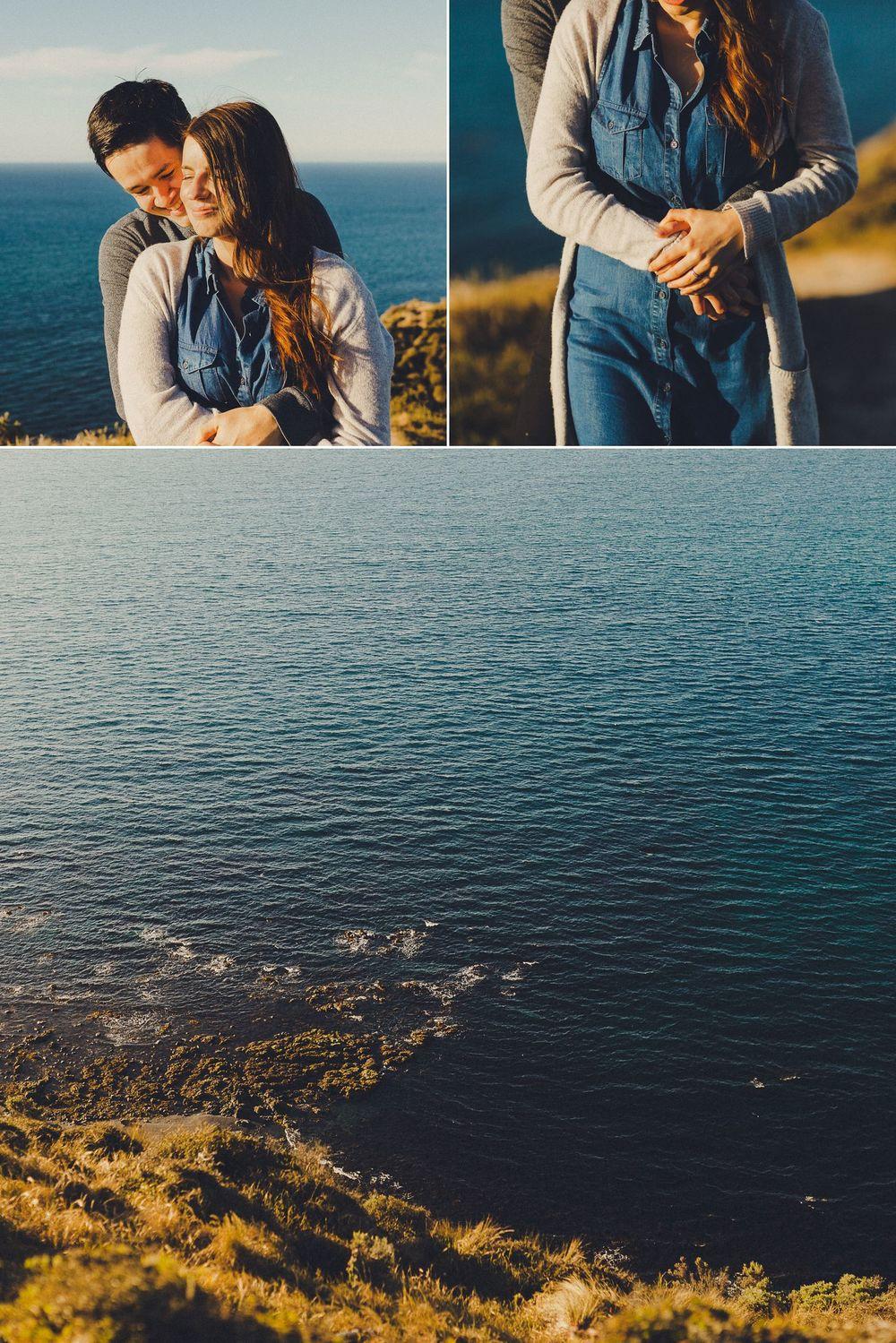 romantic clifftop engagement photos
