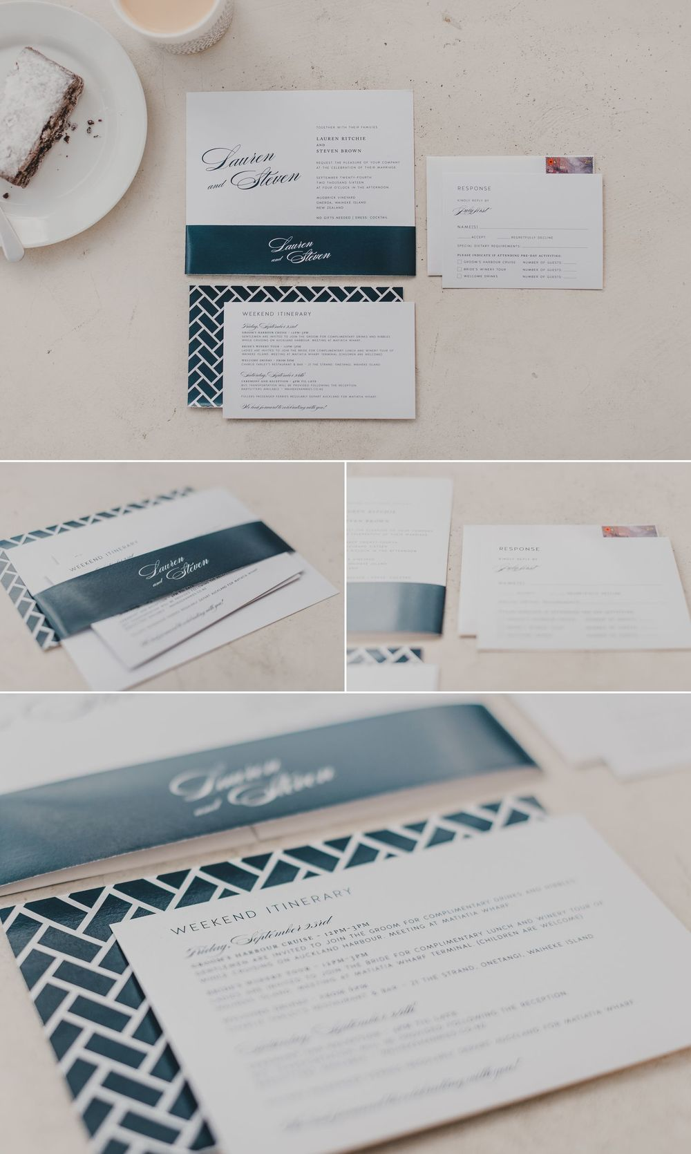 Navy Blue Wedding Stationery | www.patinaphotography.co.nz