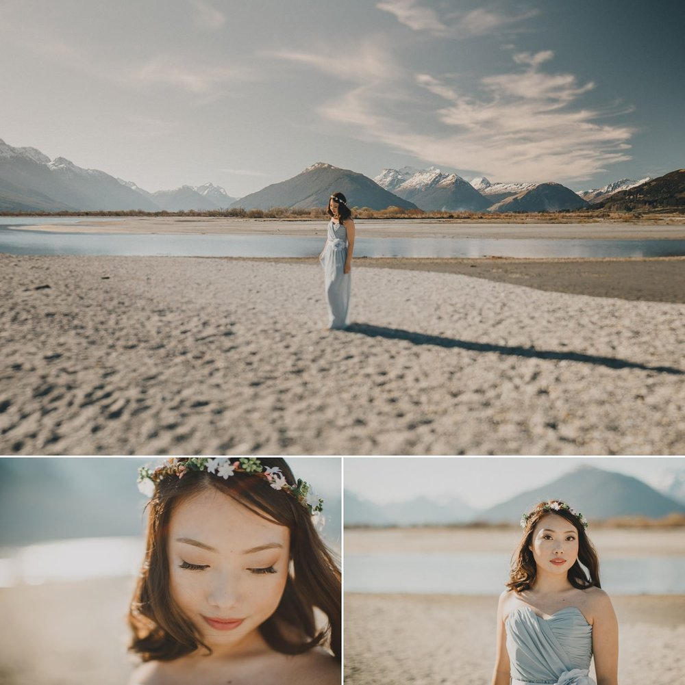 Beautiful bride in coloured dress in Queenstown New Zealand