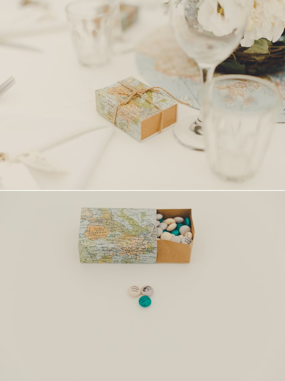 Travel theme unique wedding details. The Bride had personalised m&m's printed.