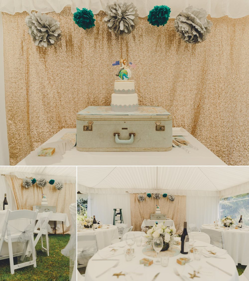 wedding cakes Auckland wedding set up in a marquee with a travel theme