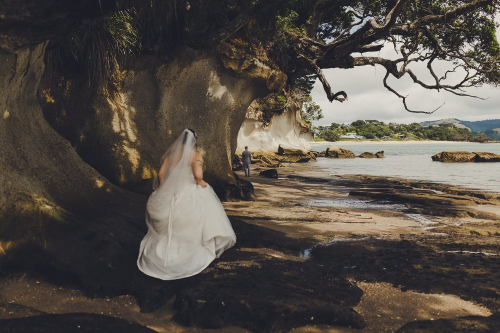 First Look for bride and groom in flaxmill bay Coromandel