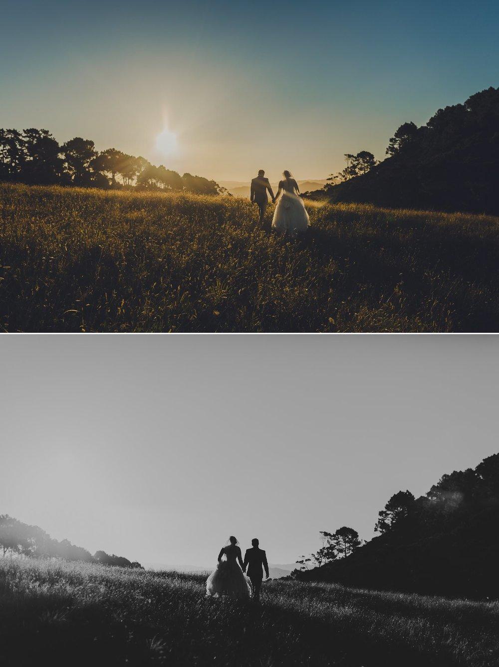 Couple walking in the sunset in Coromandel elopement