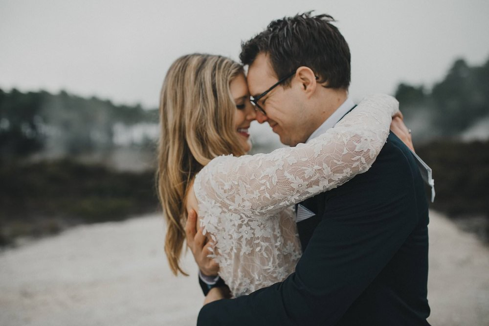 Romantic couple photos for first wedding anniversary in Rotorua
