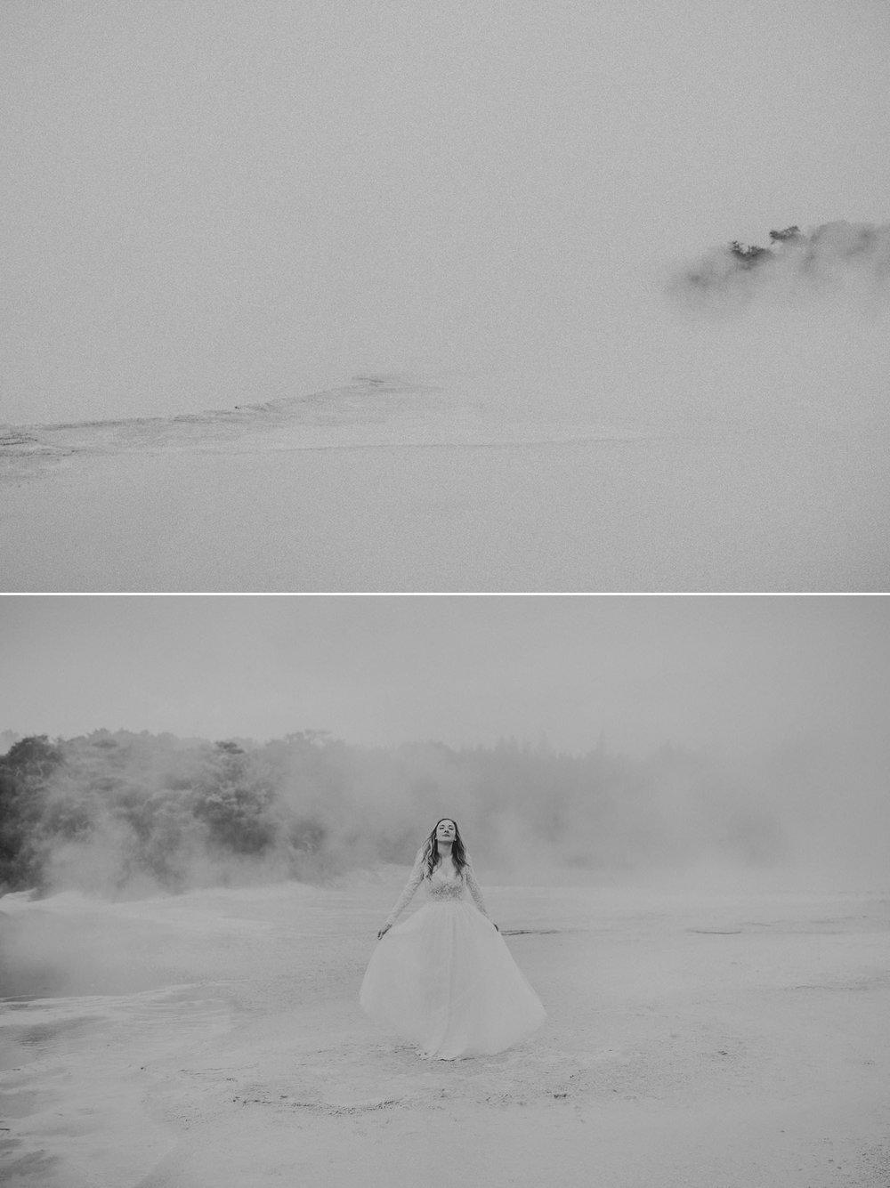 Bride in Sally Eagle Bridal dress in the mist at Wai O Tapu Rotorua