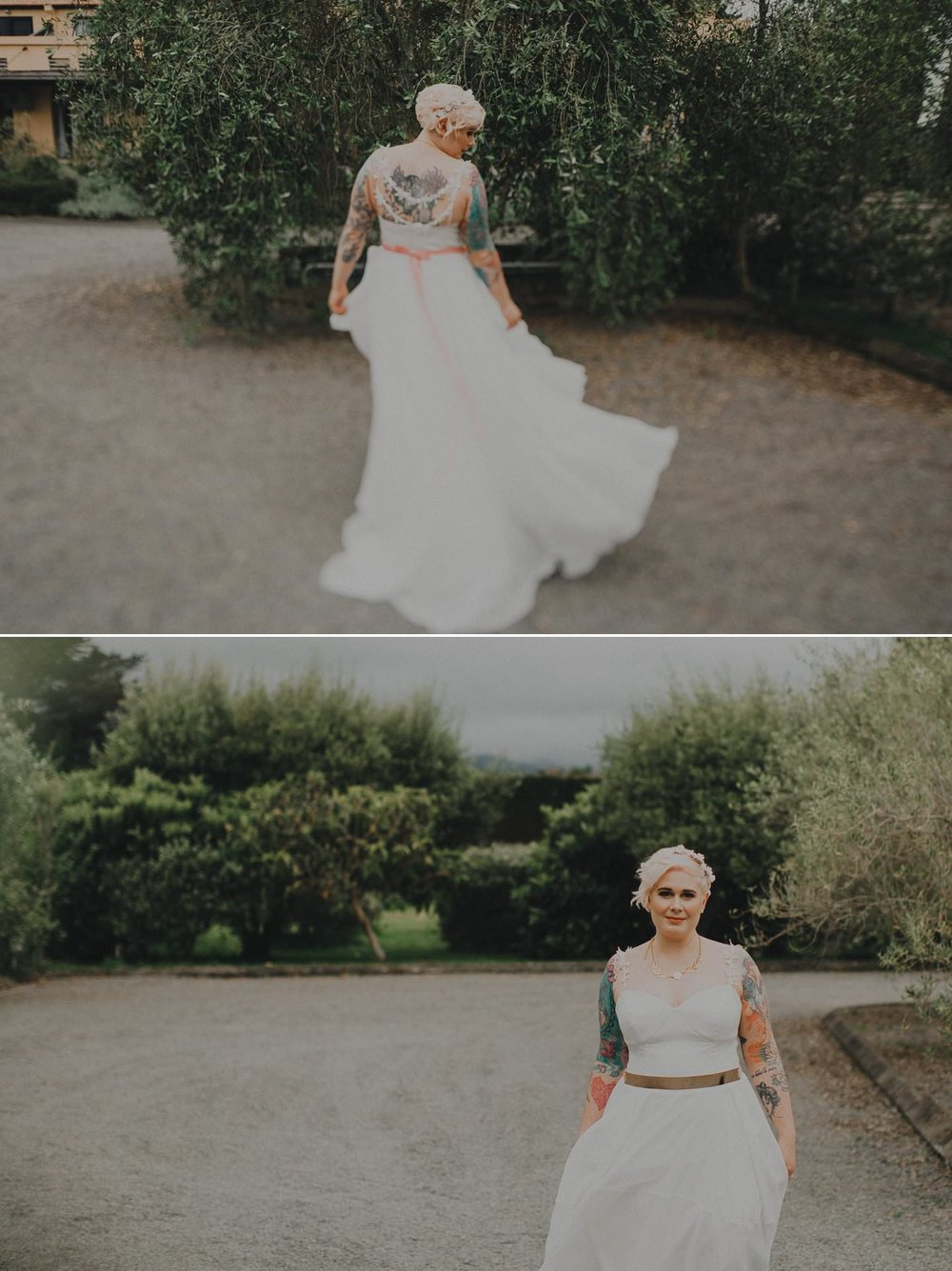 Alternative bride with pink hair and tattoos wearing Sally Eagle Bridal, Marilyn Gown