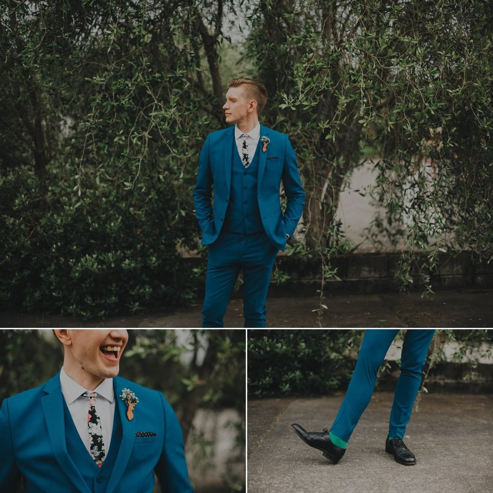 Stylish alternative groom in cobalt blue suit